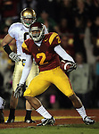 Los Angeles, CA 11/25/06 - USC's Steve Smith entered the endzone following a 25 yard gain and looks at the referees for the signal but they called him down at the Notre Dame one yard line.<br />