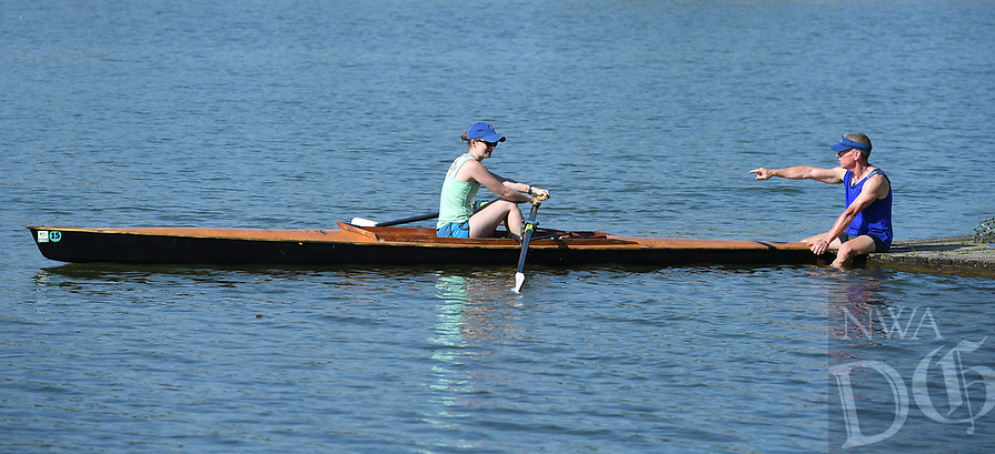 NWA Democrat-Gazette/J.T. WAMPLER Jay Johnson of Winslow (right) instructs Rebecca Moll in the art of sculling Sunday July 16, 2017 at Lake Fayetteville. Moll is a teacher at Haas Hall Academy and is is learning sculling in the hopes of teaching it to her students.