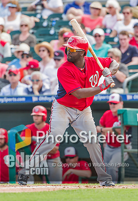 10 March 2015: Washington Nationals outfielder Tony Gwynn stands at bat during Spring Training action against the Miami Marlins at Roger Dean Stadium in Jupiter, Florida. The Marlins edged out the Nationals 2-1 on a walk-off solo home run in the 9th inning of Grapefruit League play. Mandatory Credit: Ed Wolfstein Photo *** RAW (NEF) Image File Available ***