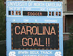 "11 October 2007: The scoreboard reads ""Carolina Goal!"" The University of North Carolina Tar Heels defeated the Duke University Blue Devils 2-1 at Fetzer Field in Chapel Hill, North Carolina in an Atlantic Coast Conference NCAA Division I Women's Soccer game."