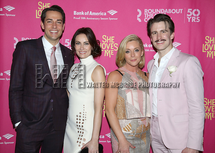Zachary Levi, Laura Benanti, Jane Krakowski and Gavin Creel attends the Broadway Opening Night Performance press reception for 'She Loves Me' at Studio 54 on March 17, 2016 in New York City.