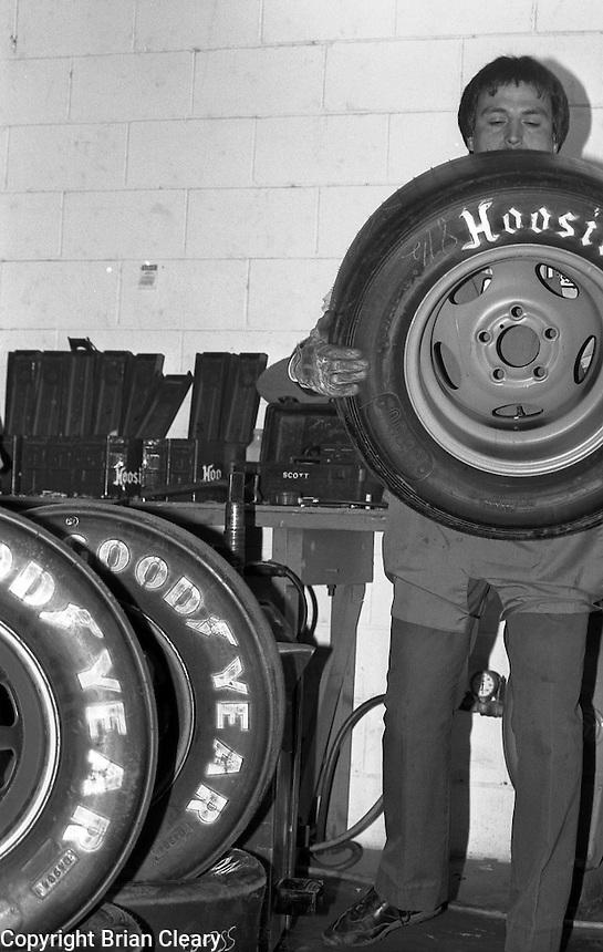 Hoosier tire workers Goodyear Daytona 500 at Daytona International Speedway on February 19, 1989.  (Photo by Brian Cleary/www.bcpix.xom)