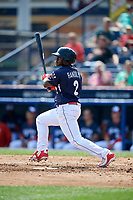 Reading Fightin Phils left fielder Cornelius Randolph (2) follows through on a swing during the first game of a doubleheader against the Portland Sea Dogs on May 15, 2018 at FirstEnergy Stadium in Reading, Pennsylvania.  Portland defeated Reading 8-4.  (Mike Janes/Four Seam Images)