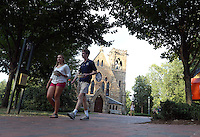 The brick plaza in front of the U.Va. Chapel slopes up from the street allowing better handicap accessibility at the University of Virginia in Charlottesville, Va. Photo/Andrew Shurtleff