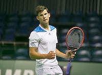 08-02-2014, Netherlands, Rotterdam, Ahoy, ABNAMROWTT,  Dominic Thiem (AUT)<br /> Photo:Tennisimages/Henk Koster