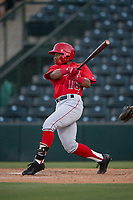 AZL Angels left fielder Datren Bray (16) follows through on his swing during an Arizona League game against the AZL Diamondbacks at Tempe Diablo Stadium on June 27, 2018 in Tempe, Arizona. The AZL Angels defeated the AZL Diamondbacks 5-3. (Zachary Lucy/Four Seam Images)