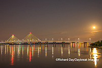 63895-15412 Clark Bridge at night over Mississippi River and full moon Alton, IL