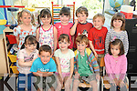 LITTLE SCHOLARS: Junior infants class from Kilgarvan National School, enjoying their first day were front l-r: Noreen Kelleher, Ben Mounffort, Sebhirin Ni Thuama and Niamh Toomey. Back l-r: Alannah O'Sullivan, Rebecca Murphy, Aisling Cronin and Chelsea O'Leary.
