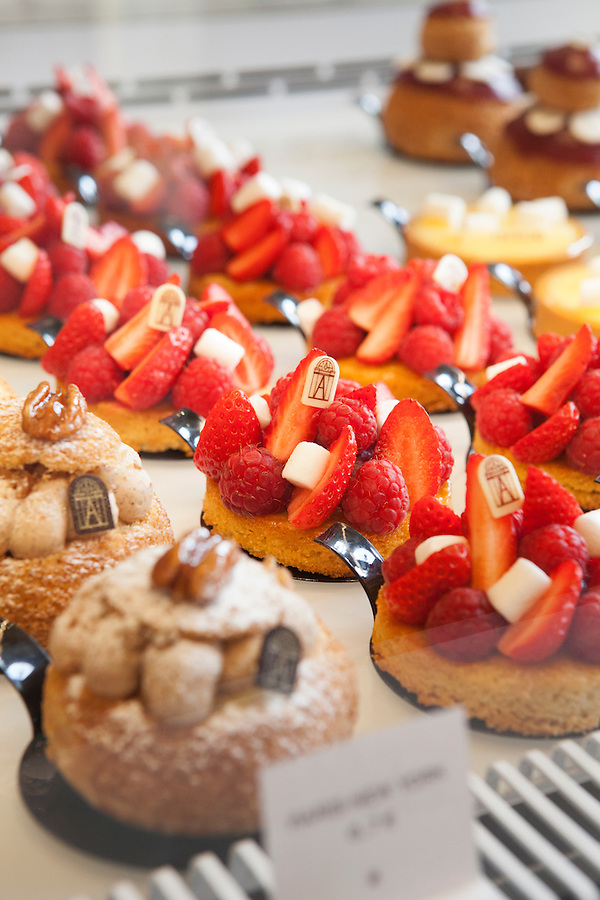 Close-up of pastries at Angelina, Rivoli Street, Rue de Rivoli, Paris, France