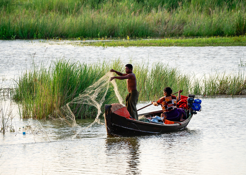 Fishing on the Irrawaddy River Mandalay, Myanmar