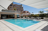 'Odyssey' at the Hotel Metropole, Monte Carlo, Monaco, 22 May 2013. Odyssey, opened in spring 2013, is an alfresco dining and pool area conceived by Karl Lagerfeld (who designed the wall frescoes), and it features Joël Robuchon's third restaurant within the hotel.