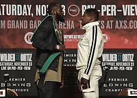 LAS VEGAS - NOVEMBER 20: Deontay Wilder and Luis Ortiz attend the final press conference for their November 23 fight on the Fox Sports PBC Pay-Per-View fight night on September 20, 2019 in. Las Vegas, Nevada. (Photo by Scott Kirkland/Fox Sports/PictureGroup)