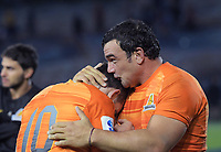 Nicolas Sanchez (left) and Agustin Creevy celebrate winning the Super Rugby match between the Chiefs and Jaguares at Rotorua International Stadum in Rotorua, New Zealand on Friday, 4 May 2018. Photo: Dave Lintott / lintottphoto.co.nz