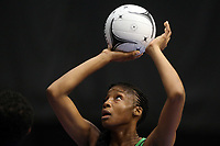 21.02.2018 Jamaica's Rebekah Robinson in action during the Jamaica v Fiji Taini Jamison Trophy netball match at the North Shore Events Centre in Auckland. Mandatory Photo Credit ©Michael Bradley.