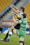 Siale Puitau & Alex Waite both fail to catch the ball during the Air New Zealand rugby game between Counties Manukau Steelers & Manawatu, played at Mt Smart Stadium on the 22nd of September 2006. Counties Manukau 25 - Manawatu 25.