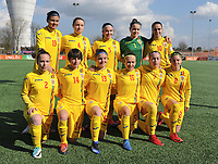 20180326 - ZALTBOMMEL , THE NETHERLANDS : Romanian team with Katia Ghioc (1)   Georgiana Gologan (2)   Krisztina Beno (4)   Irina Alexandra Tunoaia (5)   Madalina Mihaela Marinescu (7)   Genoveva Rosie (8)   Ana Maria Vladulescu (10)   Ioana Edvina Ciontos (13)   Ioana Maria Nicoleta Balaceanu (14)   Madalina Maria Tatar (15)   Cristina Tudorache (19)   pictured during the UEFA Women Under 17 Elite round game between Belgium WU17 and Romania WU17, on the second matchday in group 1 of the Uefa Women Under 17 elite round in The Netherlands , monday 26 th March 2018 . PHOTO SPORTPIX.BE    DIRK VUYLSTEKE