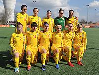 20180326 - ZALTBOMMEL , THE NETHERLANDS : Romanian team with Katia Ghioc (1)   Georgiana Gologan (2)   Krisztina Beno (4)   Irina Alexandra Tunoaia (5)   Madalina Mihaela Marinescu (7)   Genoveva Rosie (8)   Ana Maria Vladulescu (10)   Ioana Edvina Ciontos (13)   Ioana Maria Nicoleta Balaceanu (14)   Madalina Maria Tatar (15)   Cristina Tudorache (19)   pictured during the UEFA Women Under 17 Elite round game between Belgium WU17 and Romania WU17, on the second matchday in group 1 of the Uefa Women Under 17 elite round in The Netherlands , monday 26 th March 2018 . PHOTO SPORTPIX.BE    DIRK VUYLSTEKE