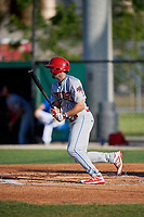 Clearwater Threshers Matt Vierling (28) at bat during a Florida State League game against the Dunedin Blue Jays on May 11, 2019 at Jack Russell Memorial Stadium in Clearwater, Florida.  Clearwater defeated Dunedin 9-3.  (Mike Janes/Four Seam Images)