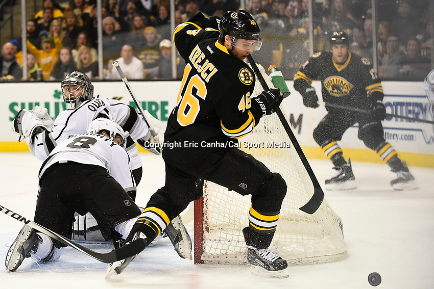 January 31, 2015 - Boston, Massachusetts, U.S. - Boston Bruins center David Krejci (46) chases after a rebound during the first period of the NHL game between the Los Angeles Kings and the Boston Bruins held at TD Garden in Boston Massachusetts. Boston defeated the Kings 3-1 in regulation time. Eric Canha/CSM