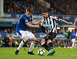 Seamus Coleman of Everton holds up Ayoze Perez of Newcastle United during the premier league match at Goodison Park Stadium, Liverpool. Picture date 23rd April 2018. Picture credit should read: Simon Bellis/Sportimage