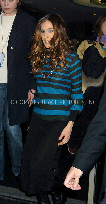 WWW.ACEPIXS.COM . . . . .  ....NEW YORK, MARCH 7, 2006....Sarah Jessica Parker leaving after making a guest apperance at the Late Night with Conan O'Brian.....Please byline: AJ Sokalner - ACEPIXS.COM.... *** ***..Ace Pictures, Inc:  ..Philip Vaughan (212) 243-8787 or (646) 769 0430..e-mail: info@acepixs.com..web: http://www.acepixs.com