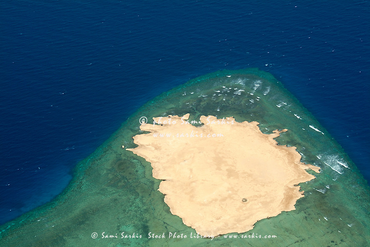 Exquisite turquoise waters of lagoon seen from above between Quoseir and Hurgada, Red Sea, Egypt.