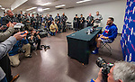 1 April 2016: Toronto Blue Jays catcher Russell Martin answers questions from the media at a press conference prior to an exhibition game between the Jays and the Boston Red Sox in Montreal, Quebec, Canada. The Red Sox defeated the Blue Jays 4-2 in the first of two MLB weekend exhibition games, which saw an attendance of 52,682 at the former home on the Montreal Expos. Mandatory Credit: Ed Wolfstein Photo *** RAW (NEF) Image File Available ***