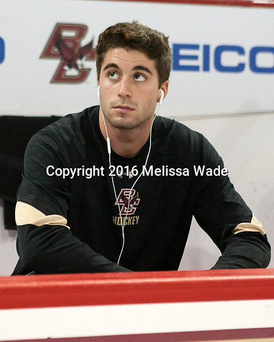 Ron Greco (BC - 28) - The Boston College Eagles defeated the visiting Colorado College Tigers 4-1 on Friday, October 21, 2016, at Kelley Rink in Conte Forum in Chestnut Hill, Massachusetts.The Boston College Eagles defeated the visiting Colorado College Tiger 4-1 on Friday, October 21, 2016, at Kelley Rink in Conte Forum in Chestnut Hill, Massachusett.