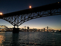 Downtown Portland from the Willamette river at night