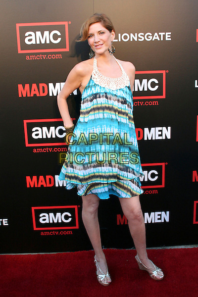 "MELINDA McGRAW .""Mad Men Season 2"" Premiere held at the Egyptian Theatre, Hollywood, California, USA..July 21st, 2008.full length blue halterneck tie dye dress pattern white brown .CAP/ADM/FS.©Faye Sadou/AdMedia/Capital Pictures."