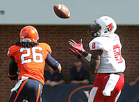 Ball State wide receiver Jordan Williams (8) makes a touchdown catch next to Virginia cornerback Maurice Canady (26) during the football game Saturday Oct. 5, 2013 at Scott Stadium in Charlottesville, VA. Ball State defeated Virginia 48-27. Photo/The Daily Progress/Andrew Shurtleff