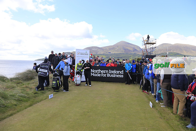Shane LOWRY (IRL), Ernie Els (RSA) and Francesco Molinari (ITA) wait on the 2nd tee during Friday's Round 2 of the 2015 Dubai Duty Free Irish Open, Royal County Down Golf Club, Newcastle Co Down, Northern Ireland 5/29/2015<br />  Picture Eoin Clarke, www.golffile.ie