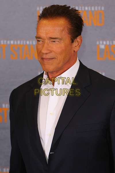 "Arnold Schwarzenegger.Photocall for ""The Last Stand"", Hyatt Regency, Kennedy Ufer, Cologne, Germany..January 21st, 2013.half length white shirt black suit jacket headshot portrait .CAP/UNT.©Unit2/Capital Pictures"