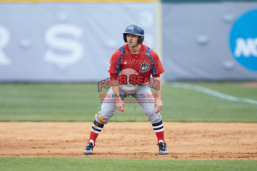 Michael Anastasia (9) of the NJIT Highlanders takes his lead off of first base against the High Point Panthers at Williard Stadium on February 18, 2017 in High Point, North Carolina. The Highlanders defeated the Panthers 4-2 in game two of a double-header. (Brian Westerholt/Four Seam Images)