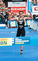 11 JUL 2009 - KITZBUHEL, AUT - Alistair Brownlee celebrates winning the  ITU World Championship Series Mens Triathlon in a time of 1:43:12. It was his third victory in three races in the series .(PHOTO (C) NIGEL FARROW)