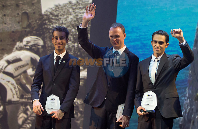 (L-R) Vuelta winner Fabio Aru (ITA), Tour de France winner Christopher Froome (GBR) and Alberto Contador (ESP) Giro d'Italia winner on stage at the UCI Gala Dinner held in the Yas Marina Hotel, Abu Dhabi. 11th October 2015.<br /> Picture: ANSA/Claudio Peri, Angelo Carconi | Newsfile