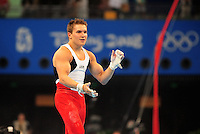 Aug. 9, 2008; Beijing, CHINA; Jonathan Horton (USA) during mens gymnastics qualification during the Olympics at the National Indoor Stadium. Mandatory Credit: Mark J. Rebilas-