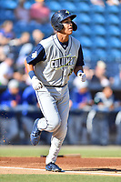 Columbia Fireflies Mark Vientos (13) runs to first base during a game against the Asheville Tourists at McCormick Field on June 22, 2019 in Asheville, North Carolina. The Tourists defeated the Fireflies 6-5. (Tony Farlow/Four Seam Images)