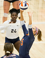 NWA Democrat-Gazette/BEN GOFF @NWABENGOFF<br /> Josie Stitt of Rogers Heritage sets the ball in the 1st set vs Bentonville West Thursday, Sept. 13, 2018, at War Eagle Arena in Rogers.