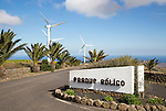 Turbines and sign at Parque Eolico de Lanzarote wind farm, Lanzarote, Canary Islands, Spain