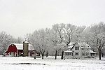 An agricultural farm in rural Wisconsin during winter