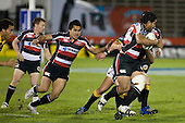 Male Sa'u keeps close as Niva Ta'auso breaks upfield. Air New Zealand Cup rugby game between Counties Manukau Steelers & Wellington played at Mt Smart Stadium on the 31st August 2007. The Score was 13 all at halftime, with Wellington going on to win 33 - 18.