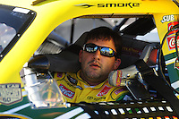 Apr 10, 2008; Avondale, AZ, USA; NASCAR Sprint Cup Series driver Tony Stewart during qualifying for the Subway Fresh Fit 500 at Phoenix International Raceway. Mandatory Credit: Mark J. Rebilas-