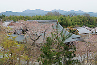 A view across the roof tops of the Tenryu-ji Temple, Kyoto