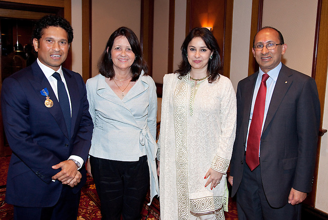 6 November 2012, Mumbai, India:  Indian cricket legend Sachin Tendulkar, with his wife Anjali, and Australian High Commissioner to India, Peter Varghese and his wife Margaret after Tendulkar received the Membership of the Order of Australia (AM) in a ceremony in Mumbai presented by The Hon. Simon Crean, Minister for the Arts. picture by Graham Crouch