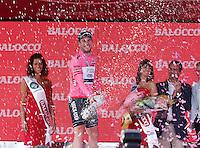 MARK CAVENDISH FESTEGGIA LA PRIMA MAGLIA ROSA DEL 96° GIRO D'ITALIA.Mark Cavendish of Great Britain and Omega Pharma Team celebrates  the Maglia Rosa as points leader after  the victory of the first stage of 96° Giro d''italia cycling race