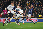 Sam Winnall of Derby County has a shot on goal whilst being closed down by Shaun Hutchinson and Mahlon Romeo of Millwall during the championship league match between Derby and Millwall at Pride Park Stadium, Derby. Picture date 23rd December 2017. Picture credit should read: Joe Perch/Sportimage