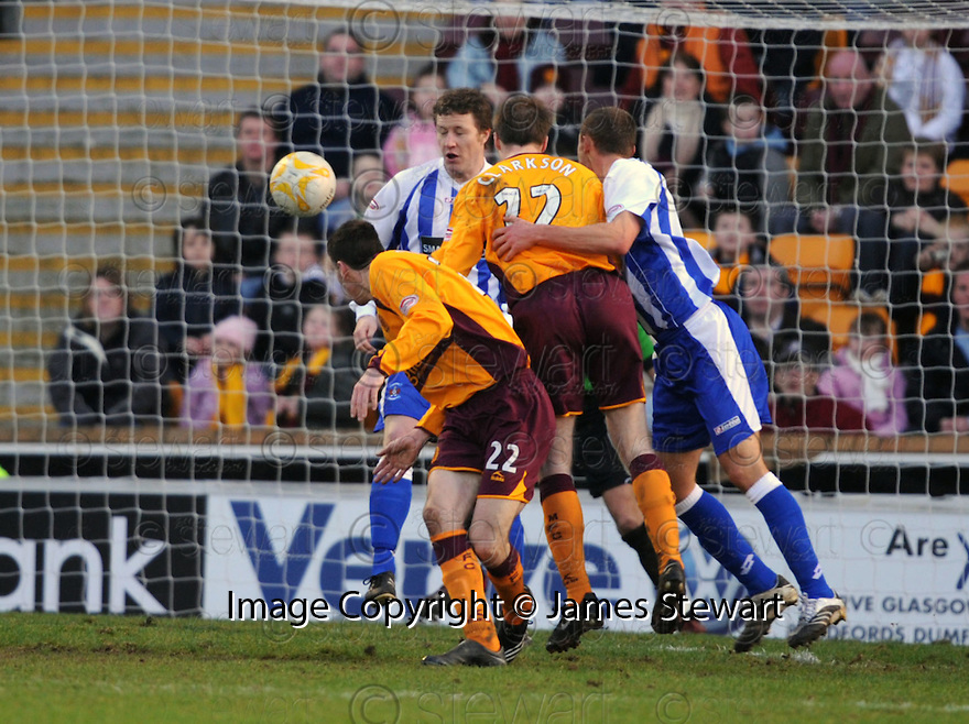 09/02/2008    Copyright Pic: James Stewart.File Name : sct_jspa14_motherwell_v_kilmarnock.DAVID CLARKSON HEADS HOME MOTHERWELL'S LATE WINNER.James Stewart Photo Agency 19 Carronlea Drive, Falkirk. FK2 8DN      Vat Reg No. 607 6932 25.Studio      : +44 (0)1324 611191 .Mobile      : +44 (0)7721 416997.E-mail  :  jim@jspa.co.uk.If you require further information then contact Jim Stewart on any of the numbers above........