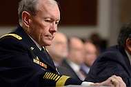 February 14, 2012  (Washington, DC)  Chairman of the Joint Chiefs of Staff, General Martin Dempsey listens during a Senate Armed Services Committee hearing regarding the FY2013 defense budget.   (Photo by Don Baxter/Media Images International)