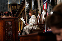 FEBRUARY 5, 2019 - WASHINGTON, DC: President Donald Trump delivered the State of the Union address, with Vice President Mike Pence and Speaker of the House Nancy Pelosi, at the Capitol in Washington, DC on February 5, 2019. <br /> CAP/MPI/RS<br /> ©RS/MPI/Capital Pictures